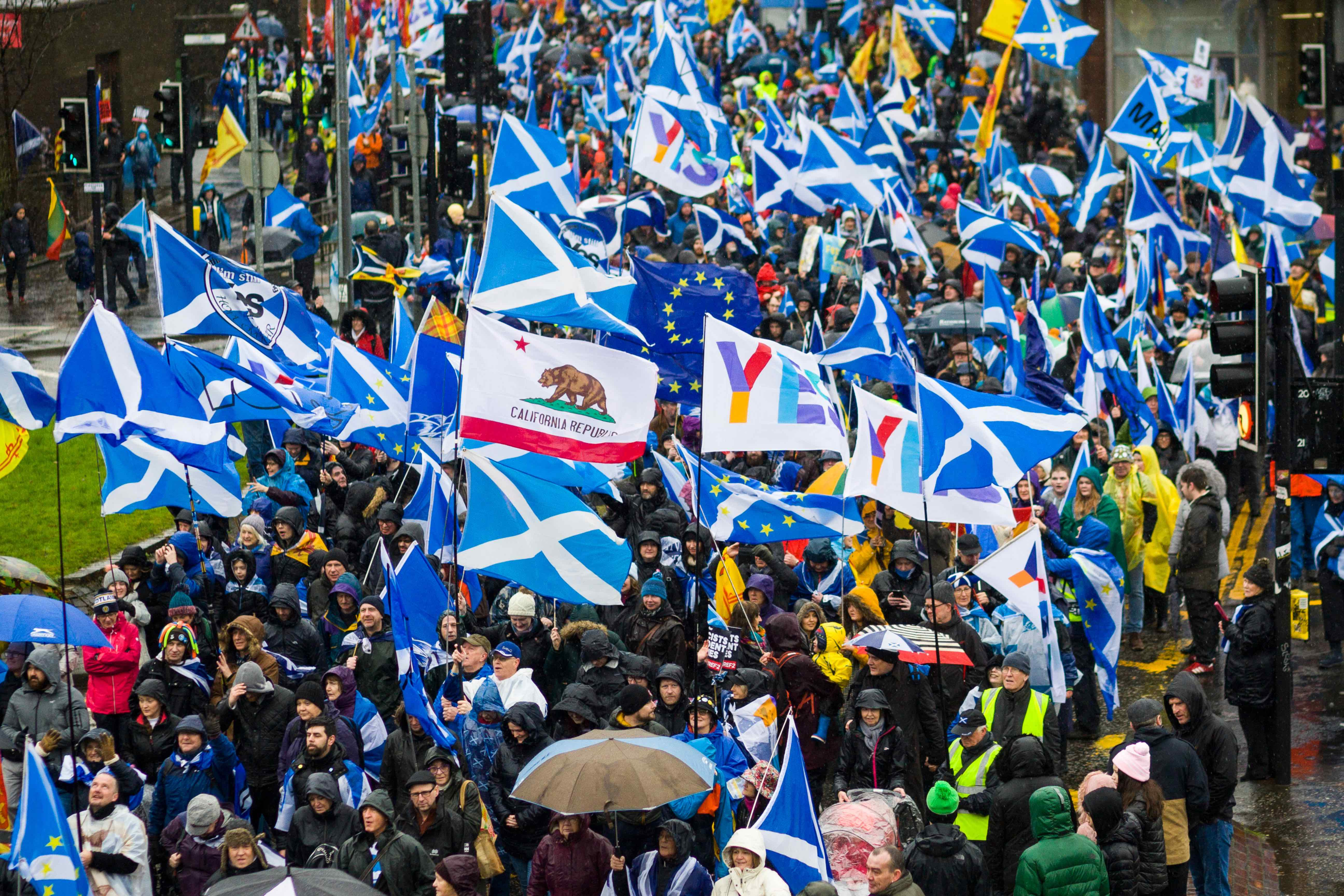 Pro-Scottish independence march in Glasgow, Scotland on 11 January 2020. © NurPhoto via Getty Images