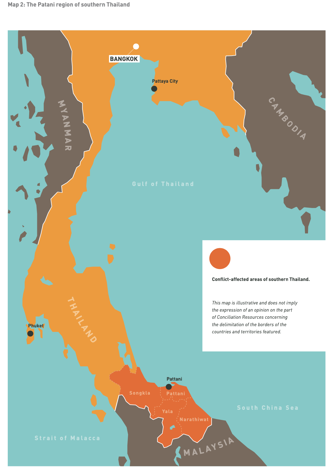Map 2: The Patani region of southern Thailand