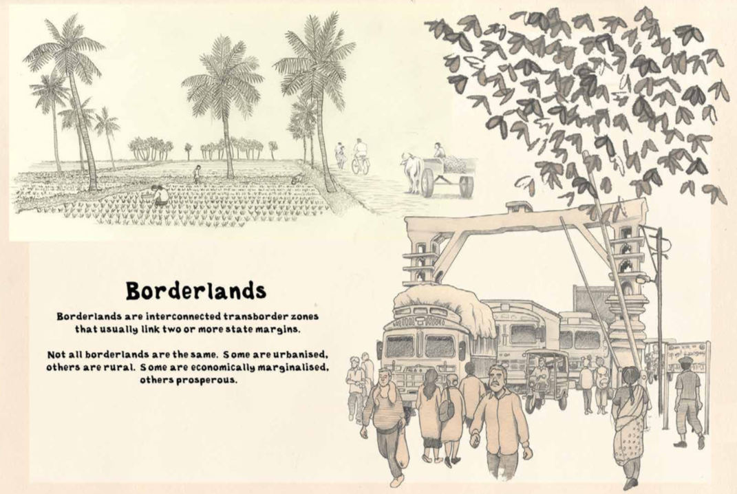 Images in this chapter were produced as part of the 'Living on the Margins: Using literary comics to understand the role of borderland brokers in post-war transitions' research project, supported by the Partnership for Conflict, Crime and Security Research
