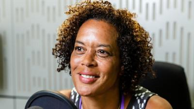 Aminatta Forna in BBC radio studio