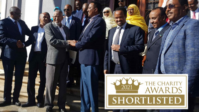 Signatories of the peace deal between the Government of Ethiopia and the Ogaden National Liberation Front shake hands in Asmara, Eritrea