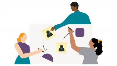 Illustration of 3 people doing gender sensitive conflict analysis