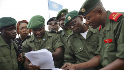 Democratic Republic of the Congo Armed Forces personnel and the Front for National Integration militia commanders negotiate disarmament process in the Ituri region Democratic Republic of Congo