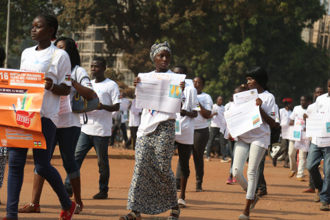 Young people marching on the streets of Bangui.