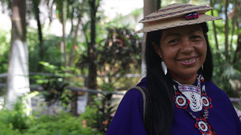 Colombian woman smiles at the camera