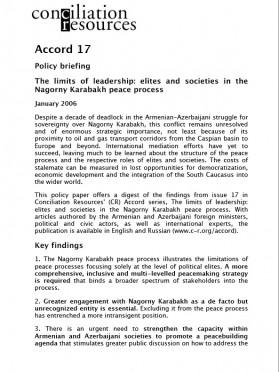 Accord policy brief: Nagorny Karabakh cover image