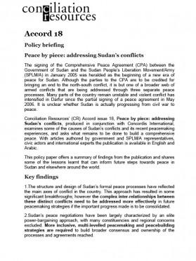 Accord Sudan: Policy brief cover image