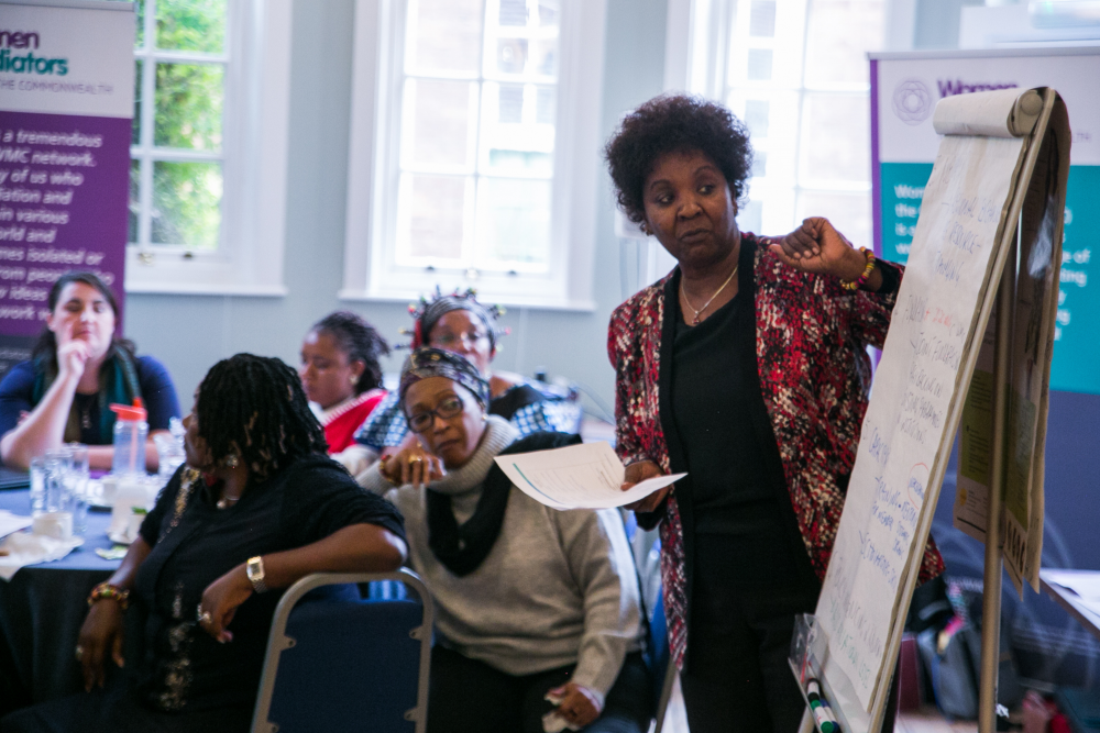 Florence Mpaayei takes part in a meeting of Women Mediators across the Commonwealth members in London in 2019.