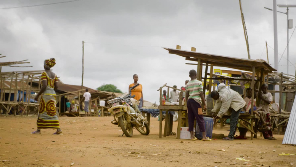 Street scene from a previously Ebola affected area of West Africa