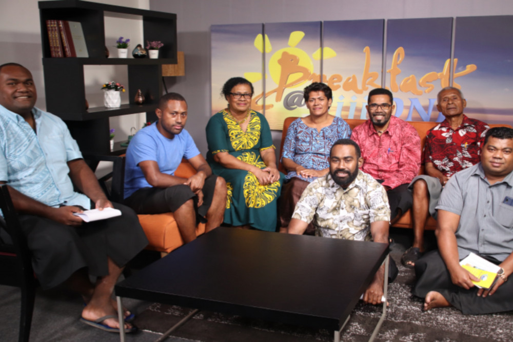 Production team in Fiji television studio