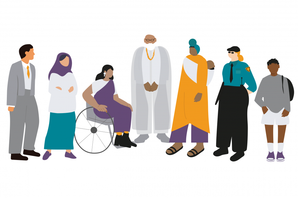 Illustration of different people standing in a line