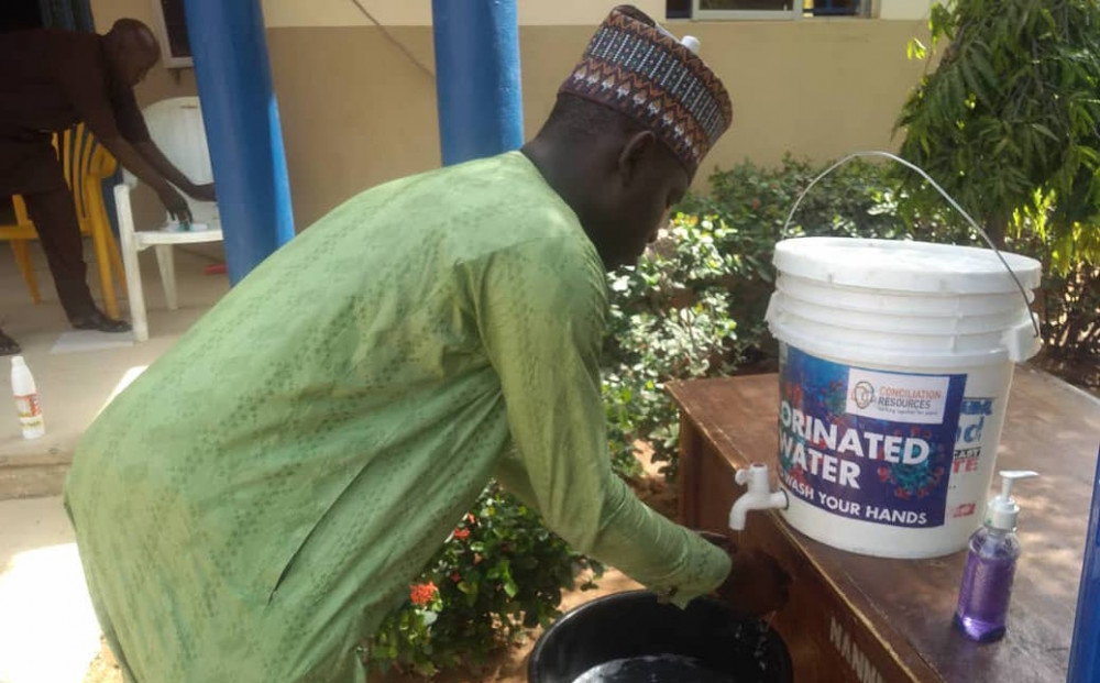 Man washing hands in Nigeria