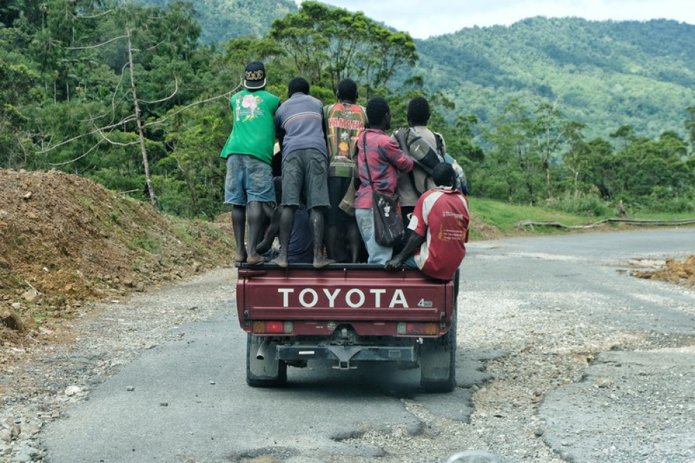Young men on a truck in Bougainville