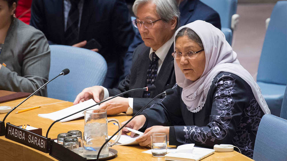 Habiba Sarabi, Deputy Chairperson of Afghanistan's High Peace Council, briefs the Security Council meeting on the situation in her country in March 2018. © UN Photo/Loey Felipe
